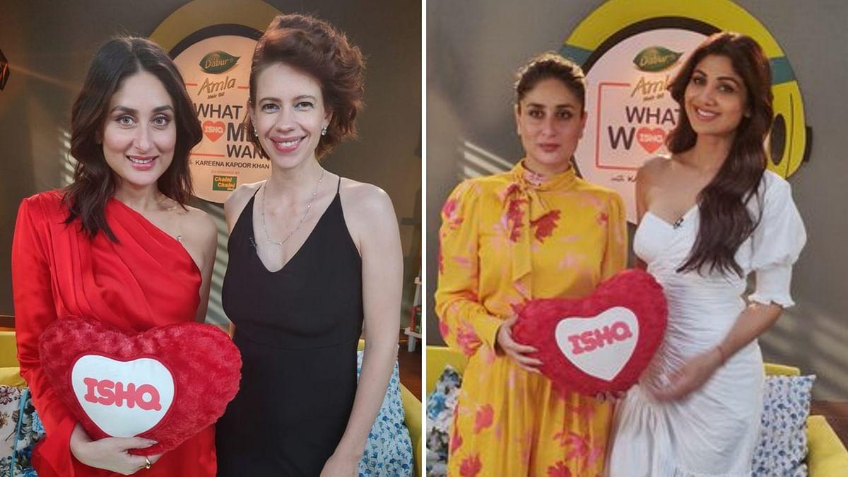 Kareena Kapoor with Shilpa Shetty and Kalki Koechlin on the set of <i>What Women Want</i> season 2.