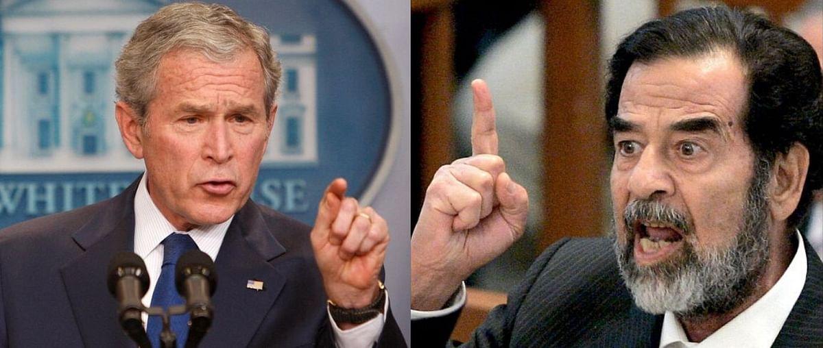Former US President George Bush and former Iraqi dictator Saddam Hussein.