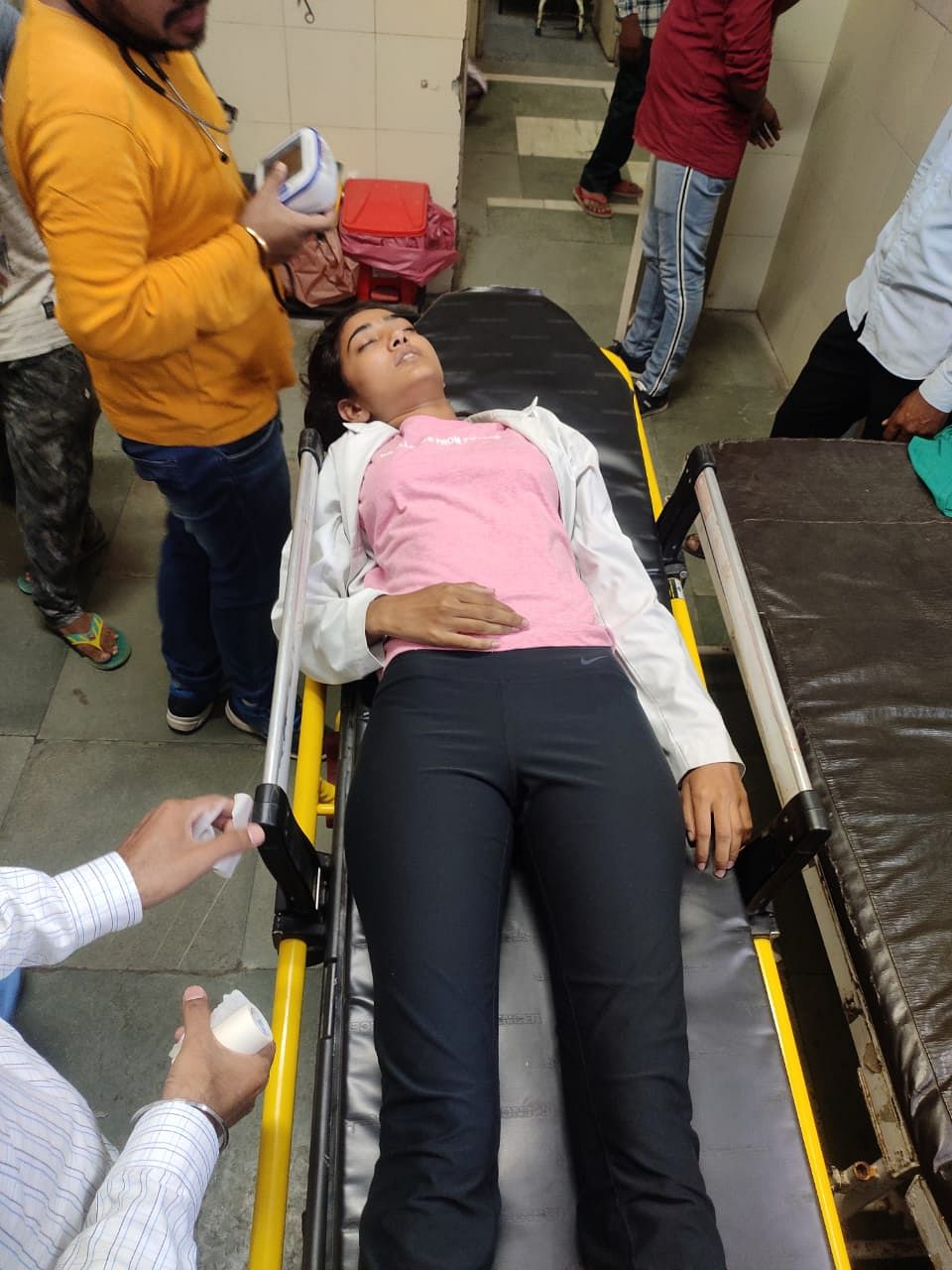 A protesting student admitted to Civil Hospital in Jhajjar.