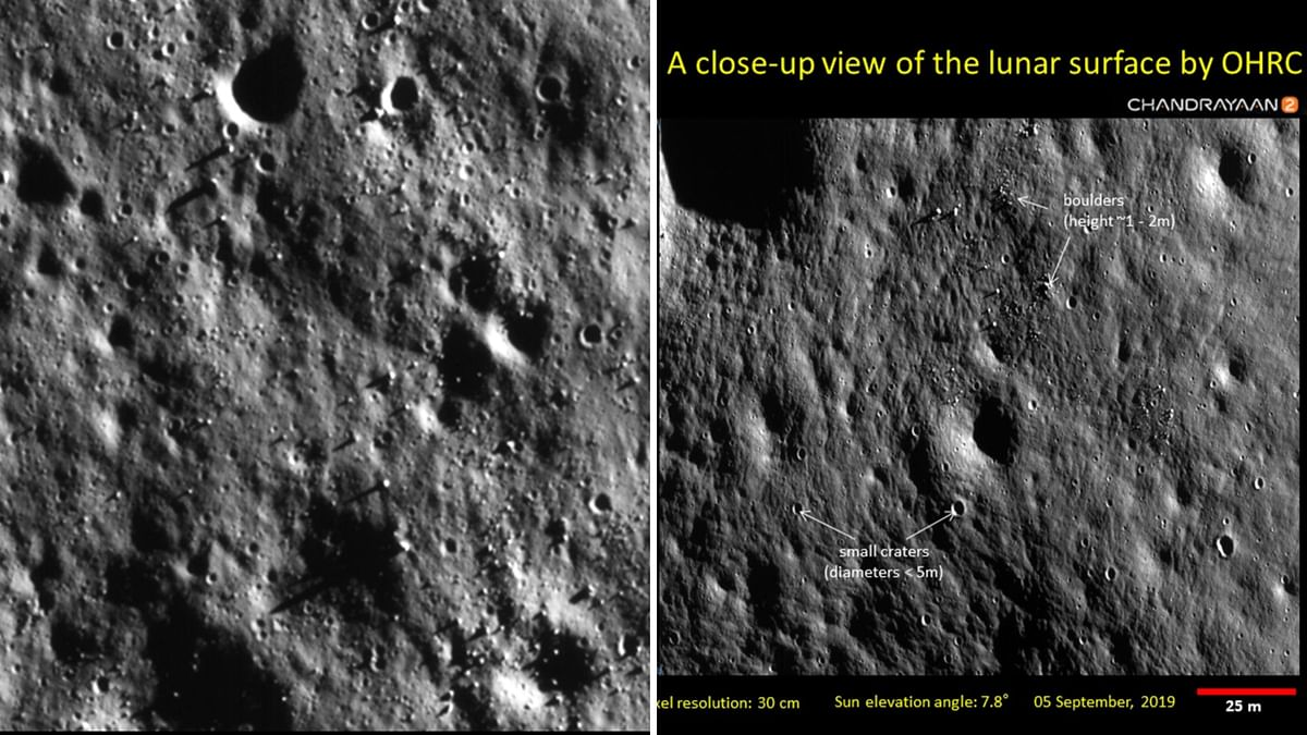 ISRO on 4 October released new images of the Moon's surface captured by Chandrayaan-2's OHRC.