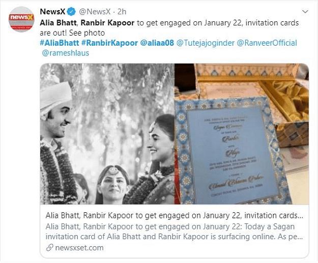 The fake wedding invitation card of Alia Bhatt and Ranbir Kapoor.