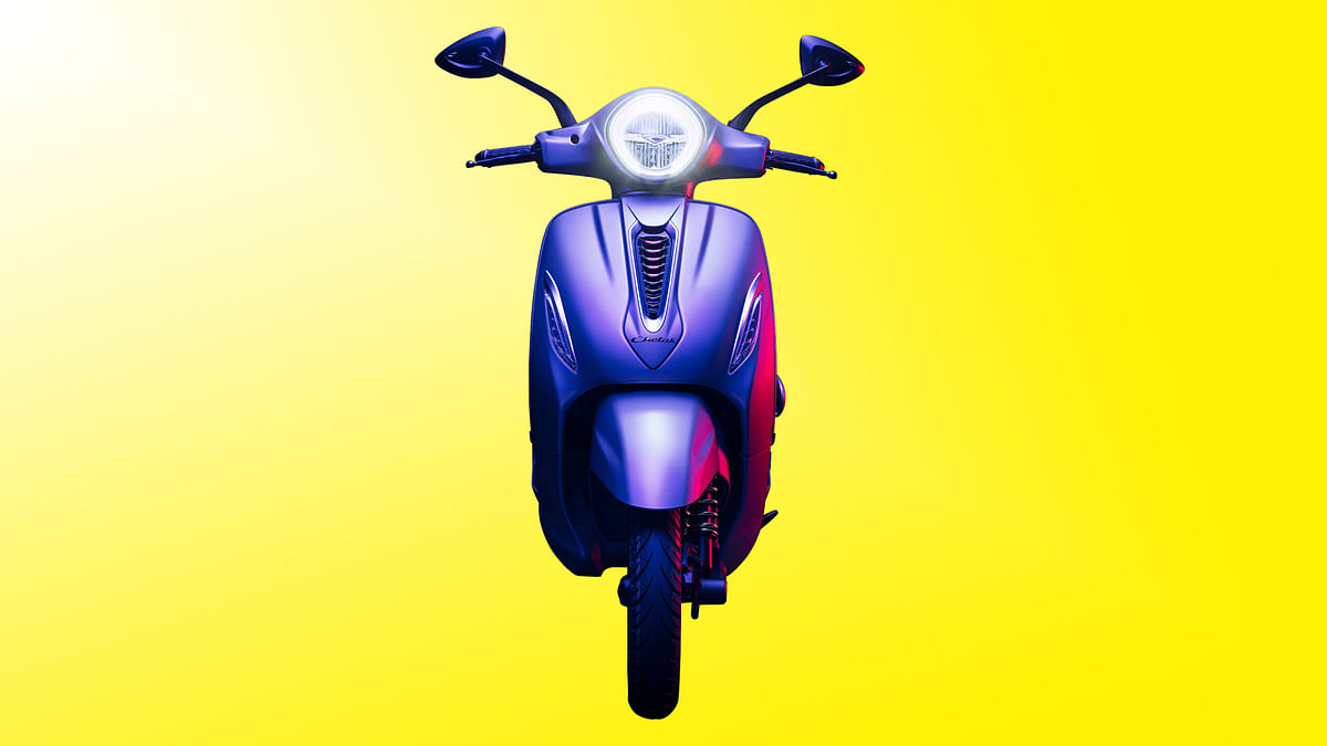 Front look of the Chetak electric scooter.