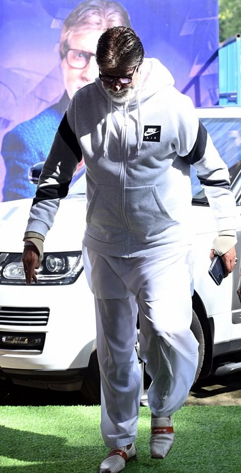 Amitabh returns to work after being discharged from hospital.