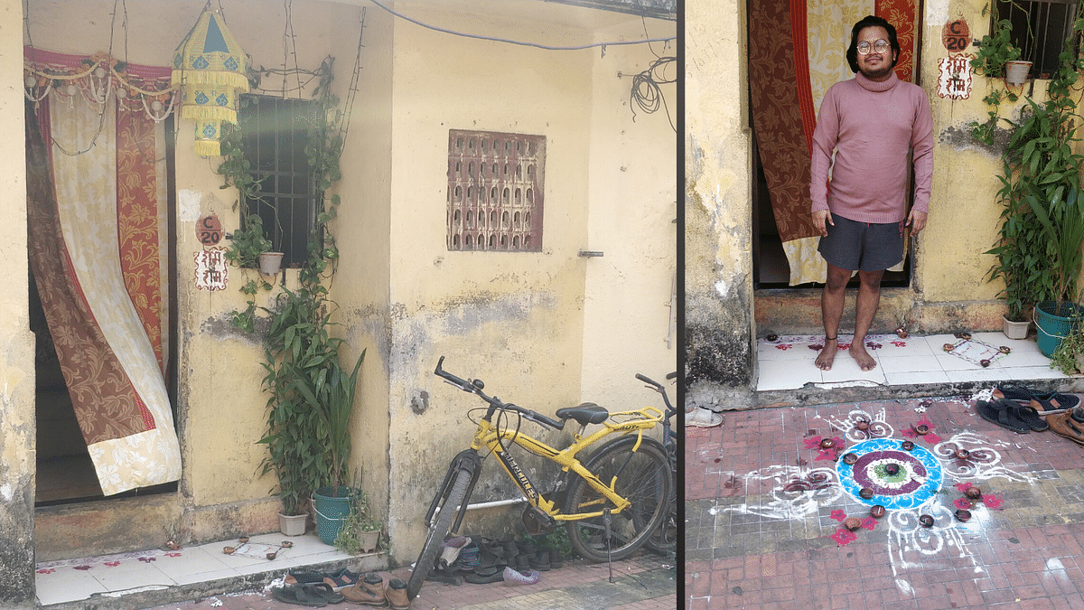 Girish Khandelwal, a resident of the same complex, stands outside his house – the Diwali rangoli still in place and the lights still strung.
