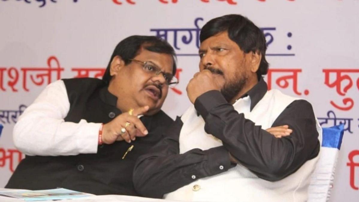 Chhota Rajan's brother Deepak Nikalje with RPI chief Ramdas Athawale.