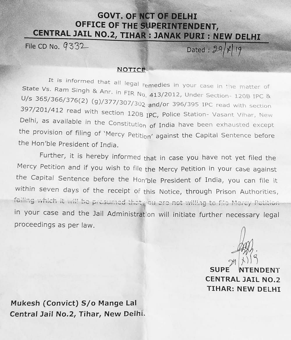 A copy of the notice handed over to the accused of Nirbhaya rape case.