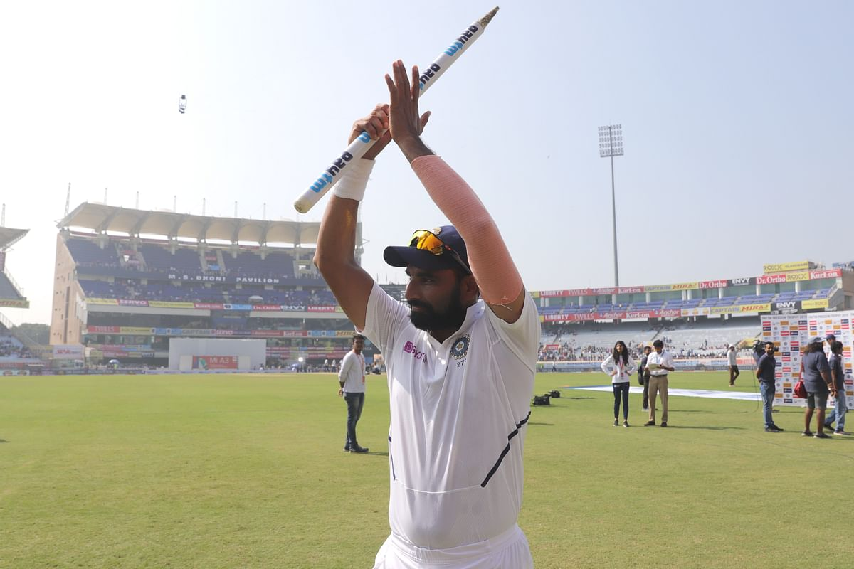 Mohammed Shami of India during day four of the third test match between India and South Africa held at the JSCA International Stadium Complex, Ranchi India on the 22nd October 2019