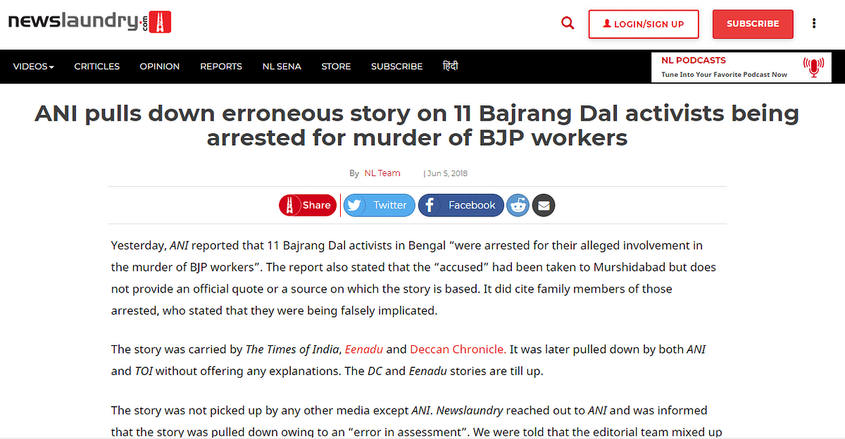 Screenshot of a report by Newslaundry.