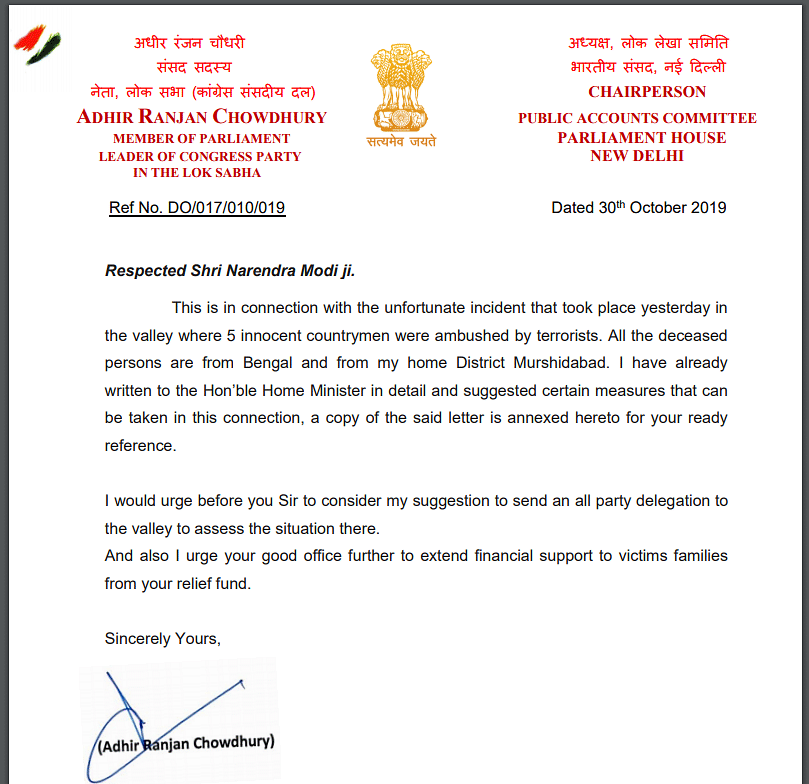 Congress leader AR Chowdhury wrote a letter to PM Modi regarding the killings of labourers  in Jammu and Kashmir.