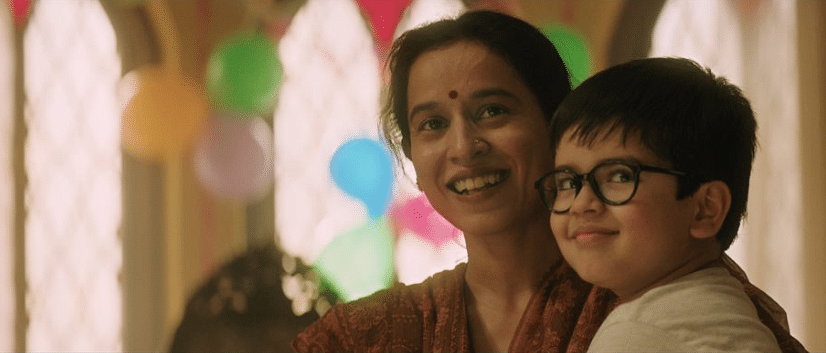 Vedant Chibber as Chintu, and Tillotama Shome as his mother.