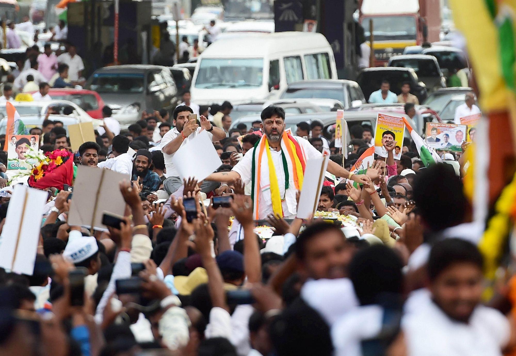 DK Shivakumar after arriving in Bengaluru.