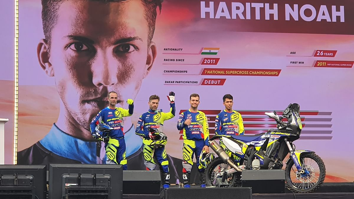 The TVS Sherco team for this year's Dakar Rally race.