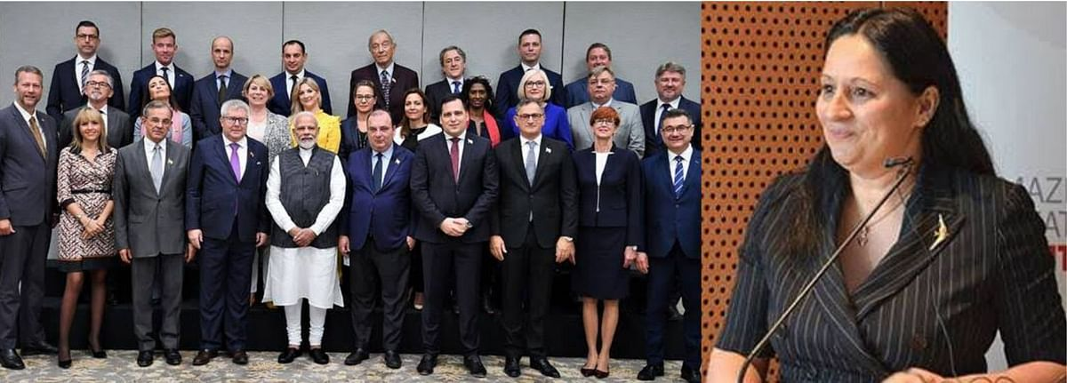 PM Modi meets members of the European Parliament (left), and the organiser of the meeting Madi Sharma (right).