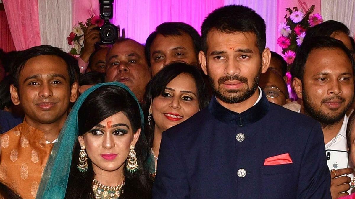 Aishwarya Rai and Tej Pratap Yadav at their wedding.