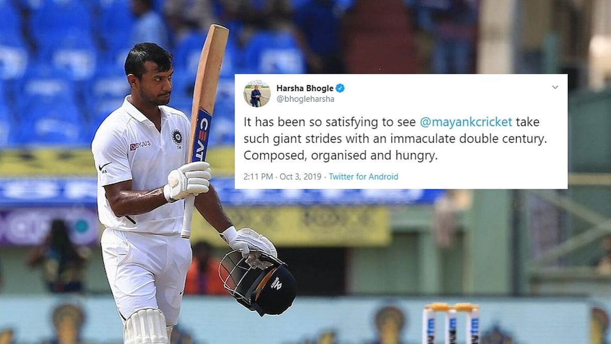 'Take a Bow': Twitter Lauds Mayank Agarwal's Maiden Double Century