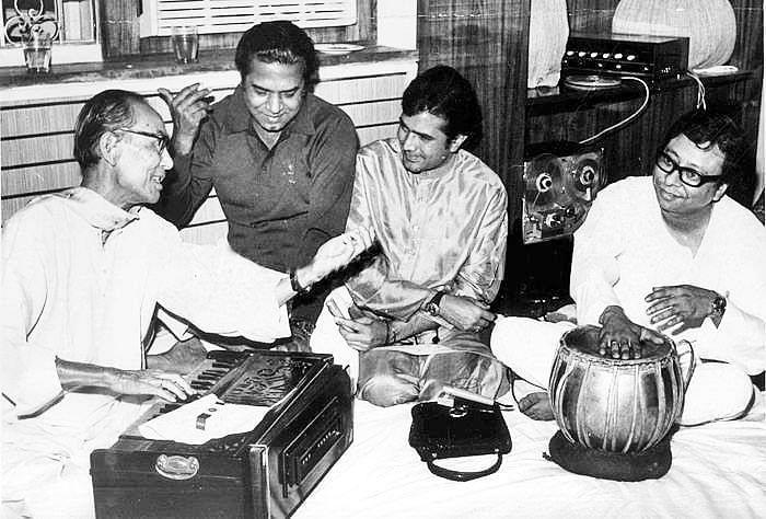 SD Burman, Shakti Samanta, Rajesh Khanna and RD Burman.