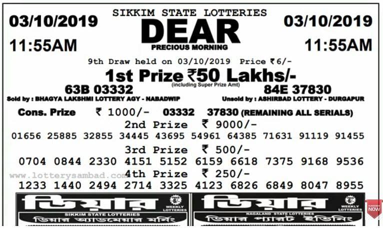 Full Winner List For Today's Lottery Dear Precious Morning
