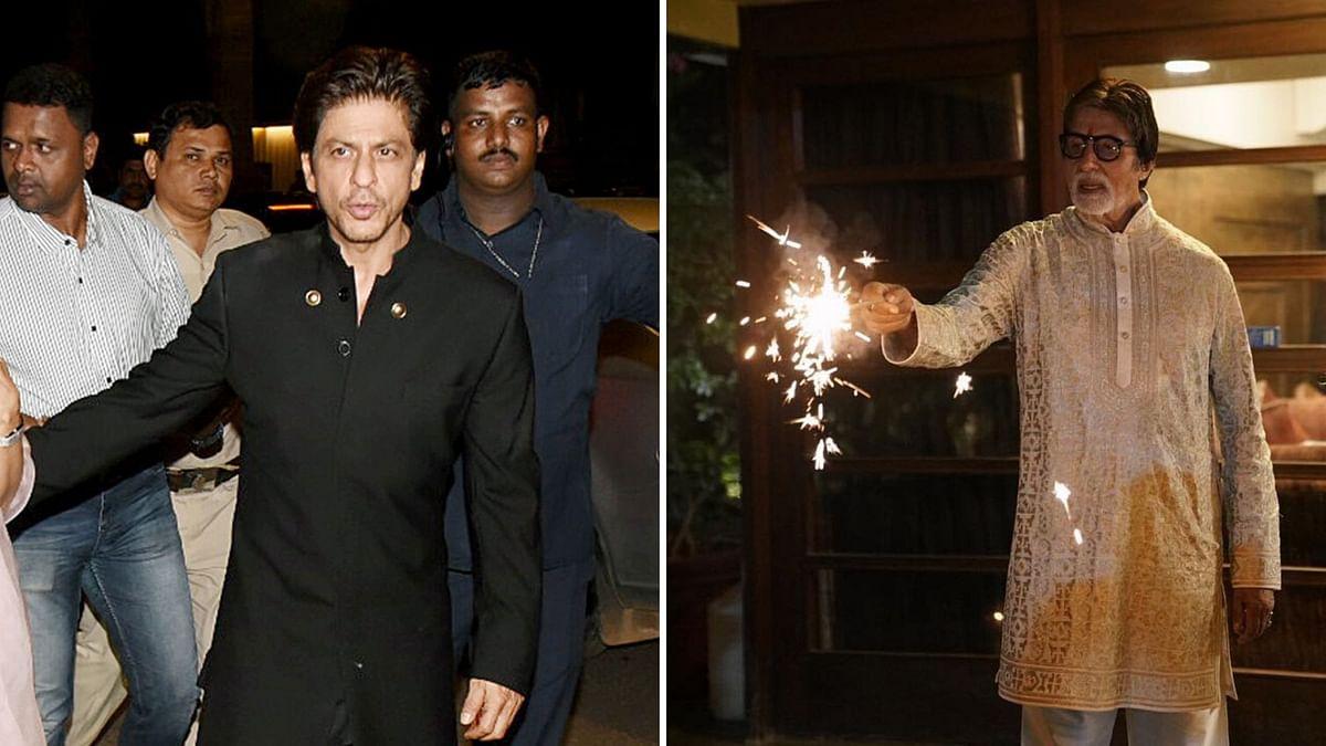 Shah Rukh Khan at the Bachchan party (L); Amitabh Bachchan celebrating Diwali (R)