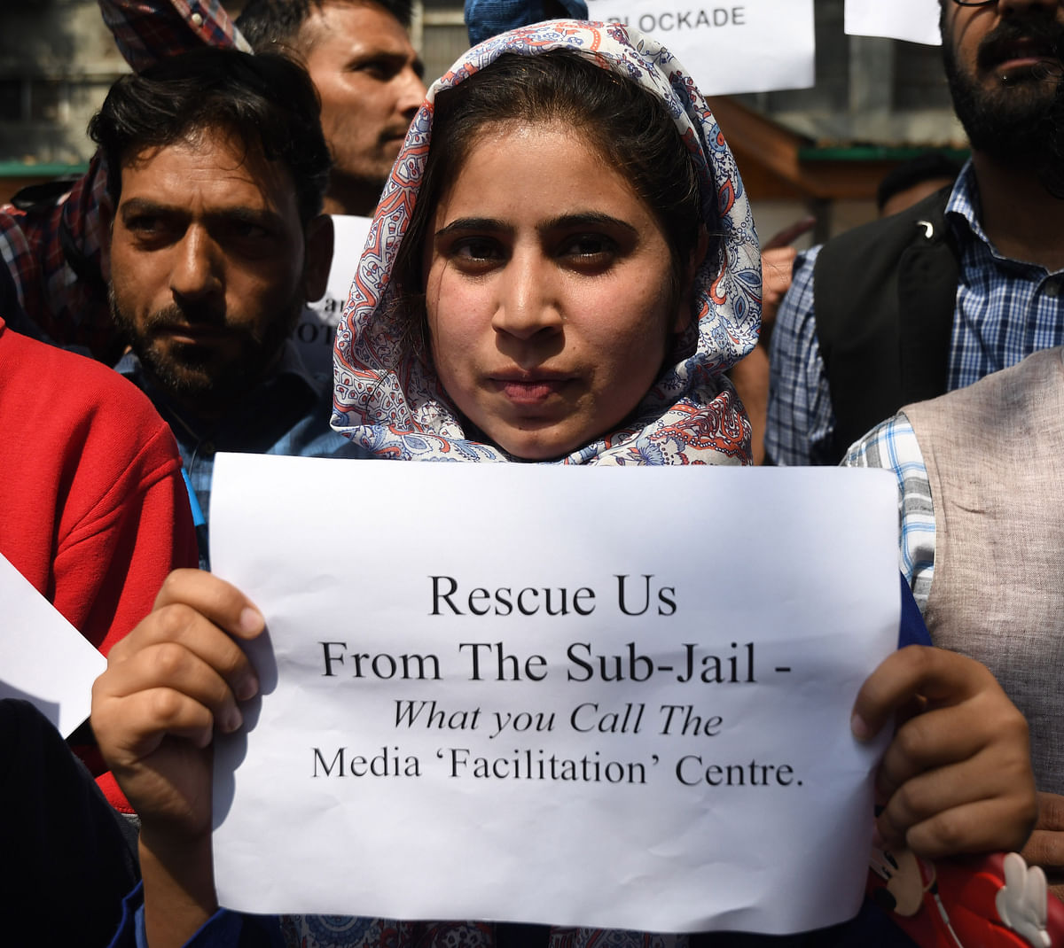 Kashmiri journalist Quratulain Rehbar at the protest against communication blockade.