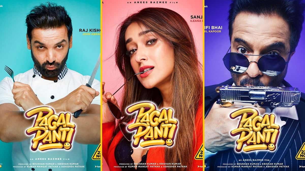John Abraham, Ileana D'Cruz and Anil Kapoor in 'Pagalpanti'.