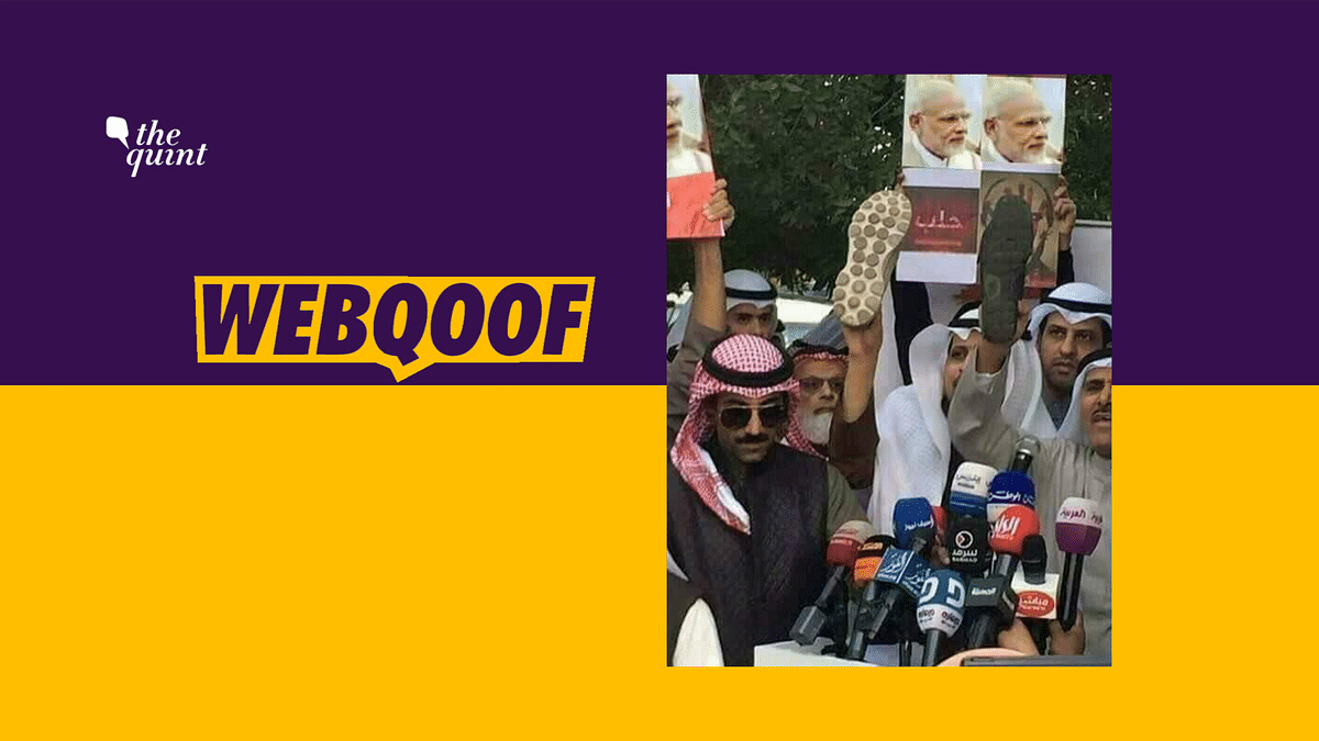An image on social media falsely claimed that citizens of Saudi Arabia raised shoes to protest against PM Narendra Modi.