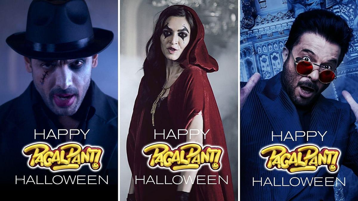 John Abrahan, Kriti Kharbanda, Anil Kapoor in <i>Pagalpanti </i>Halloween posters.&nbsp;