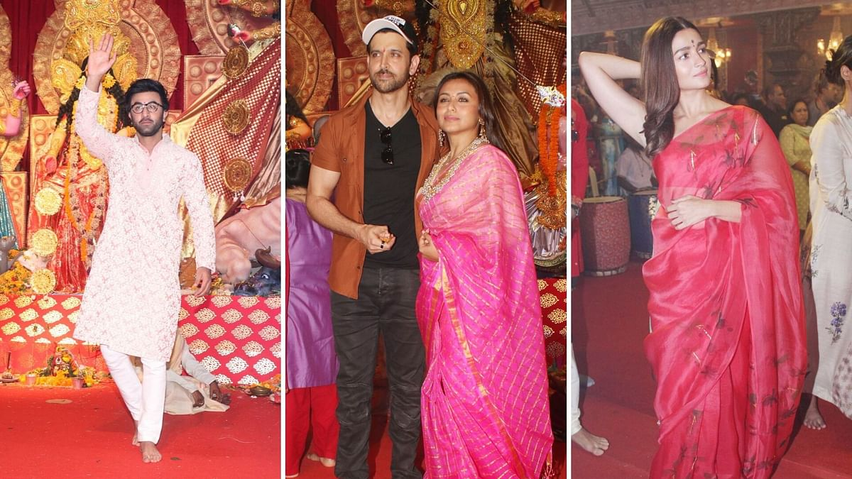 In Pics: Ranbir, Alia, Kajol, Rani Go Traditional in Durga Puja