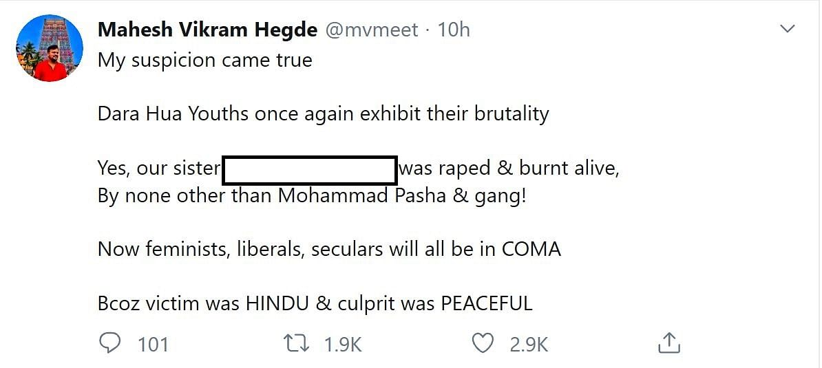 The Quint has edited the tweet to hide the name of the victim.