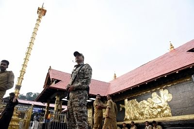 Pathanamthitta: A security personnel stands guard at the Sabarimala temple in Kerala