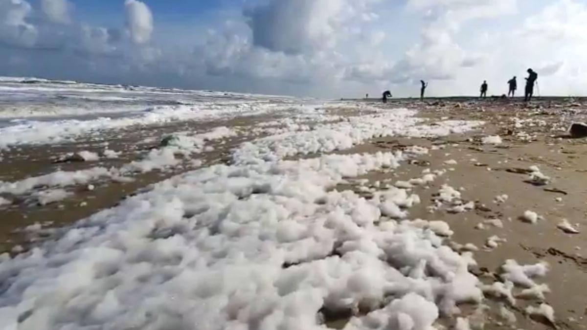 Froth Washes Onto Chennai Coastline, Shocks Public