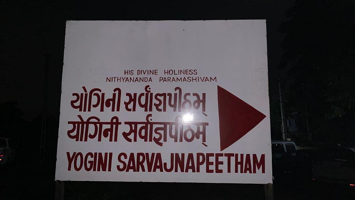 The ashram's board.