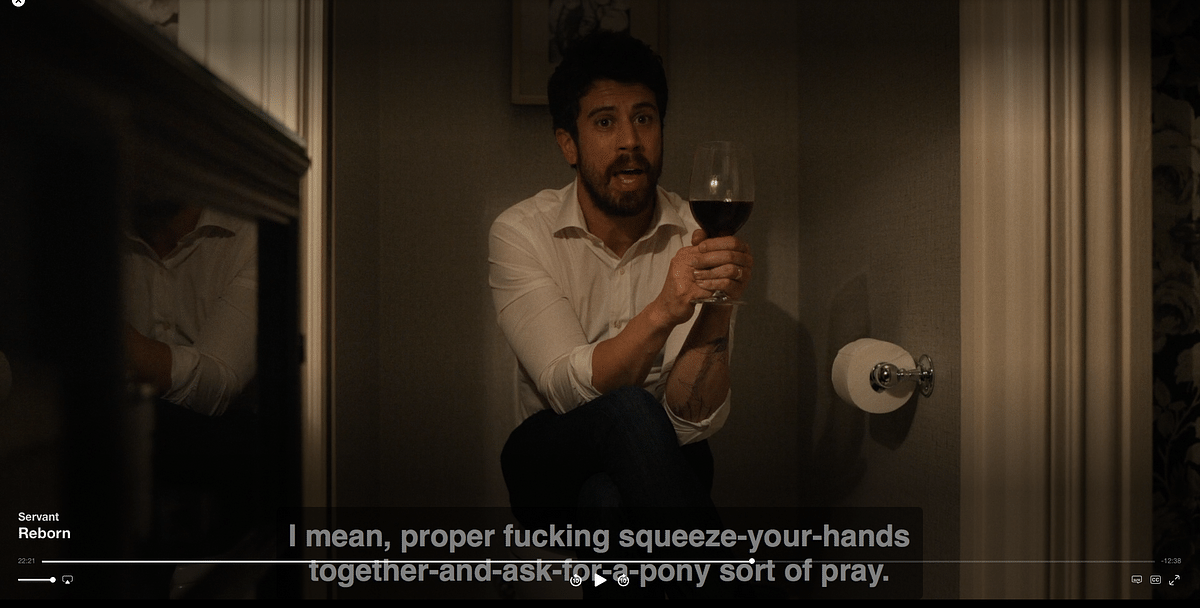 An expletive in this particular scene has not been beeped nor has it been removed from the subtitles.