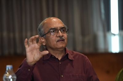 Lucknow: Eminent lawyer Prashant Bhushan addresses a press conference in Lucknow on March 9, 2019. (Photo: IANS)