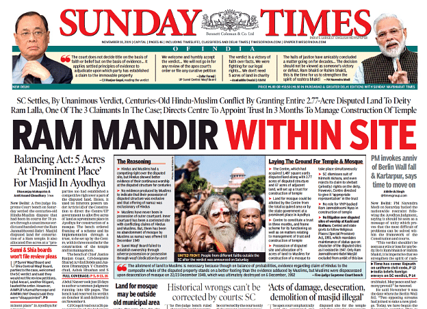 'Hindu Sthan': What Front-Page Headlines Said on Ayodhya Verdict
