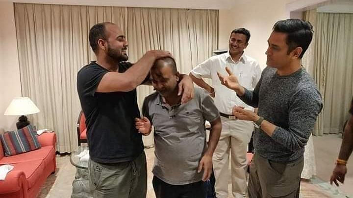 MS Dhoni spends time with his old friends, celebrating a birthday in Ranchi.