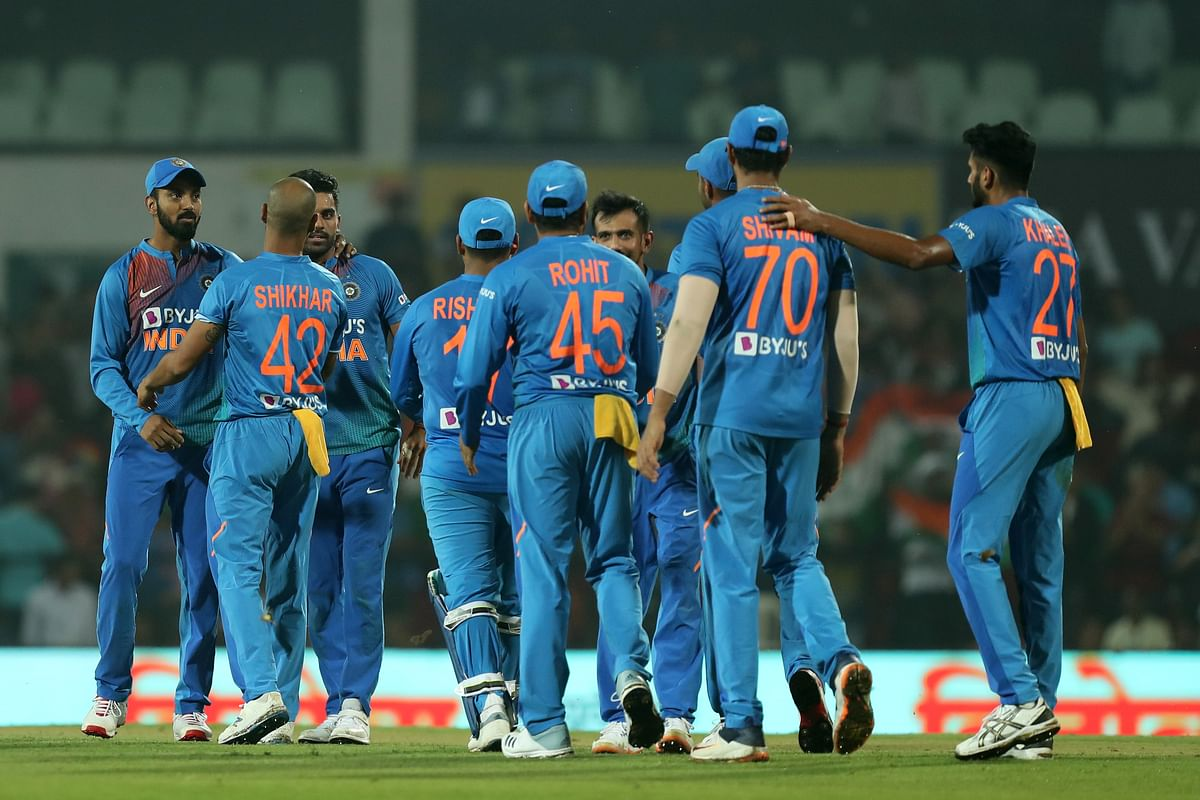 Team India celebrates the victory over Bangladesh in the Nagpur T20I.