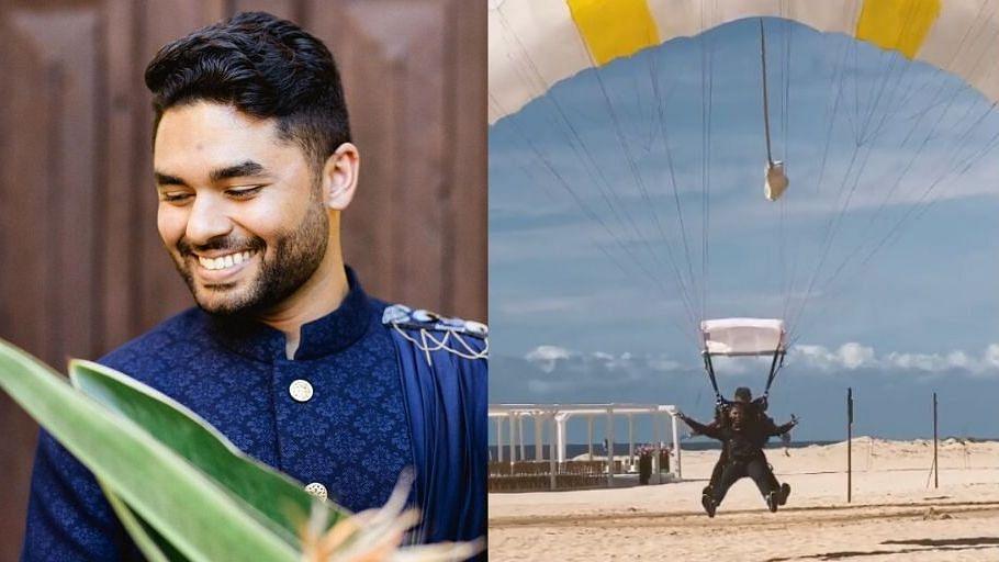 Indian Groom Skydives Into His Own Wedding as Baraatis Cheer On!