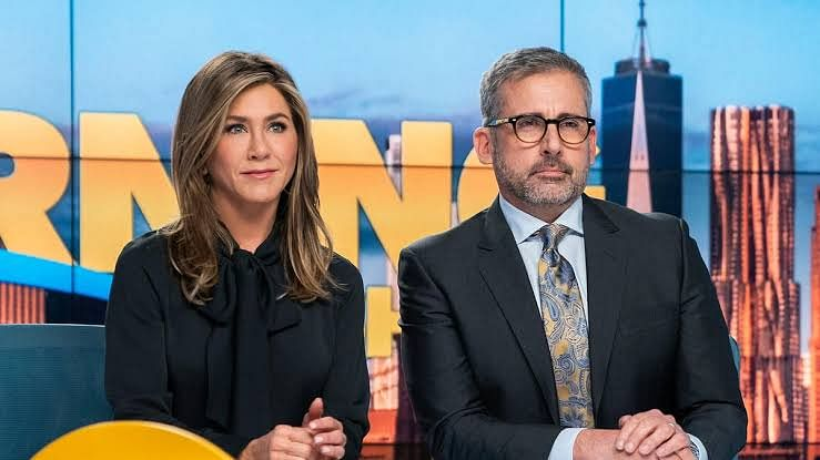 Jennifer Anniston and Steve Carell in a still from <i>The Morning Show</i>.