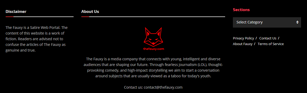 The disclaimer states that Fauxy is a satirical website.