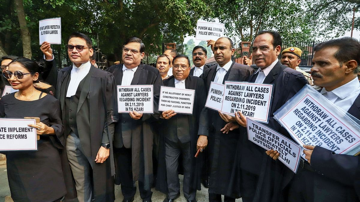 Image of protesting lawyers after the scuffle, used for representational purposes.