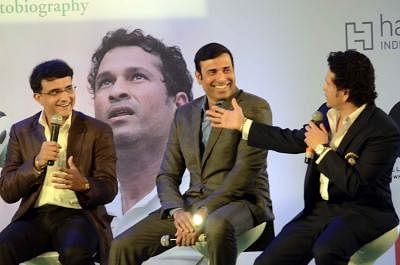 Former cricketers Saurav Ganguly, V. V. S. Laxman and Sachin Tendulkar at the launch Tendulkar