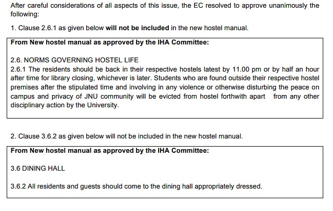 The revised rules for new hostel manual issued by JNU's Executive Committee.