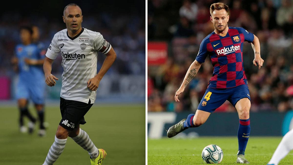 Iniesta and Rakitic used to be teammates until Iniesta left Barcelona to join Vissel Kobe in Japan.