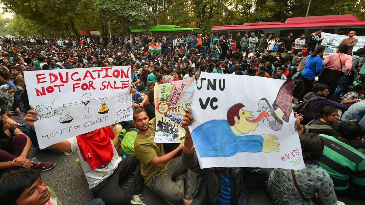JNU Students protest against fee hike.