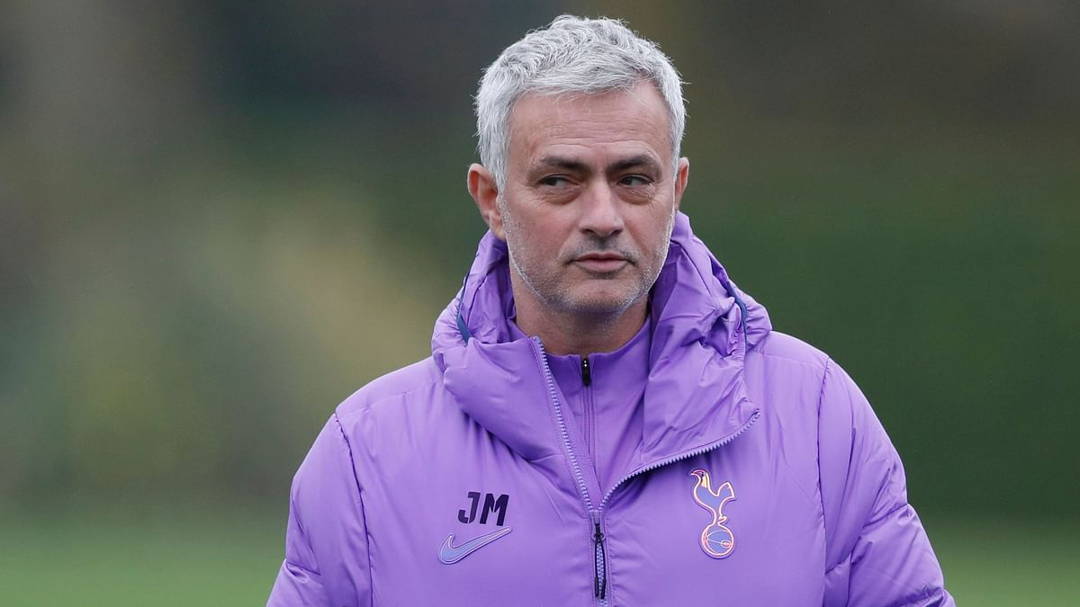 Tottenham Hotspur's manager Jose Mourinho watches his players during a training session at their training ground in London, Monday Nov. 25, 2019, ahead of their Champions League Group B match against Olympiakos.