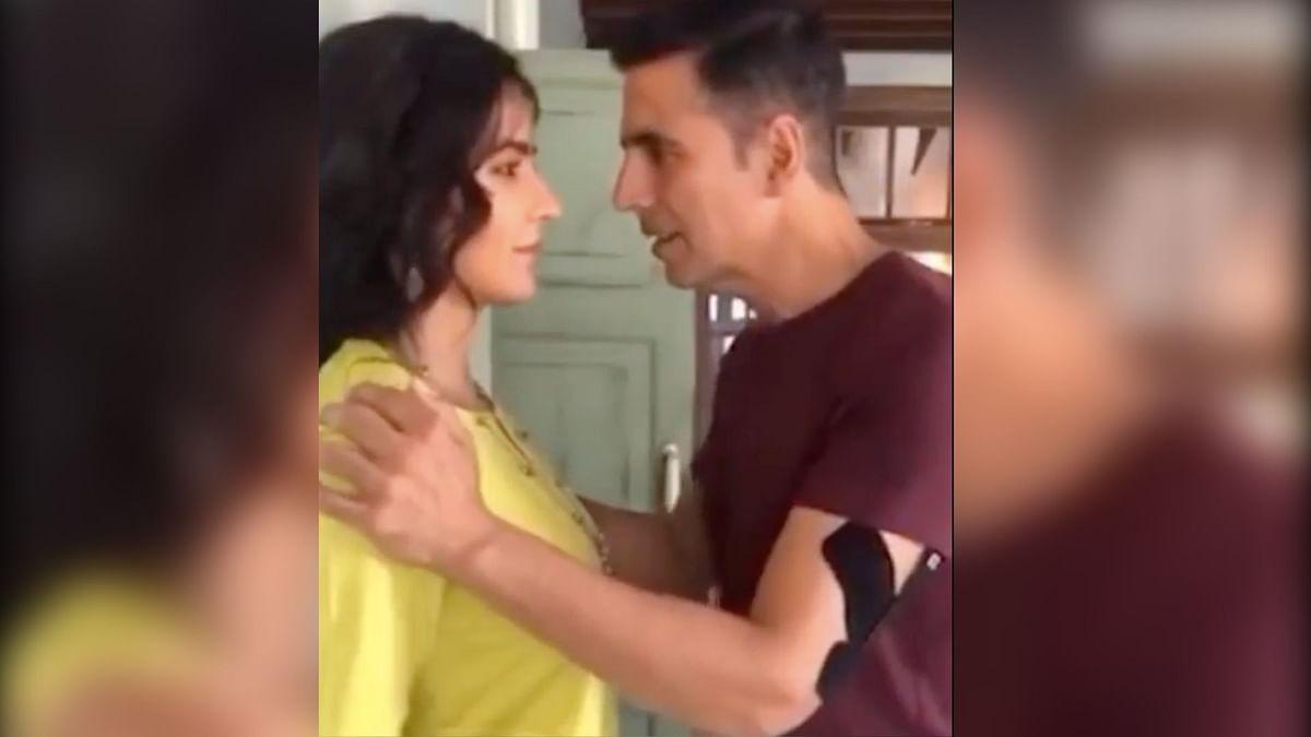 Akshay Kumar and Katrina Kaif on the sets of <i>Sooryavanshi</i>.