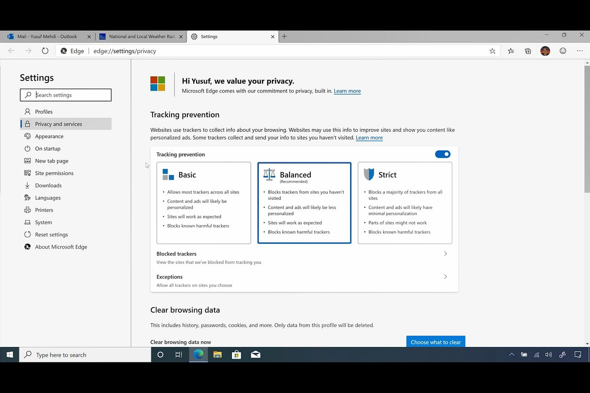 The tracking prevention tool on the new Edge browser.