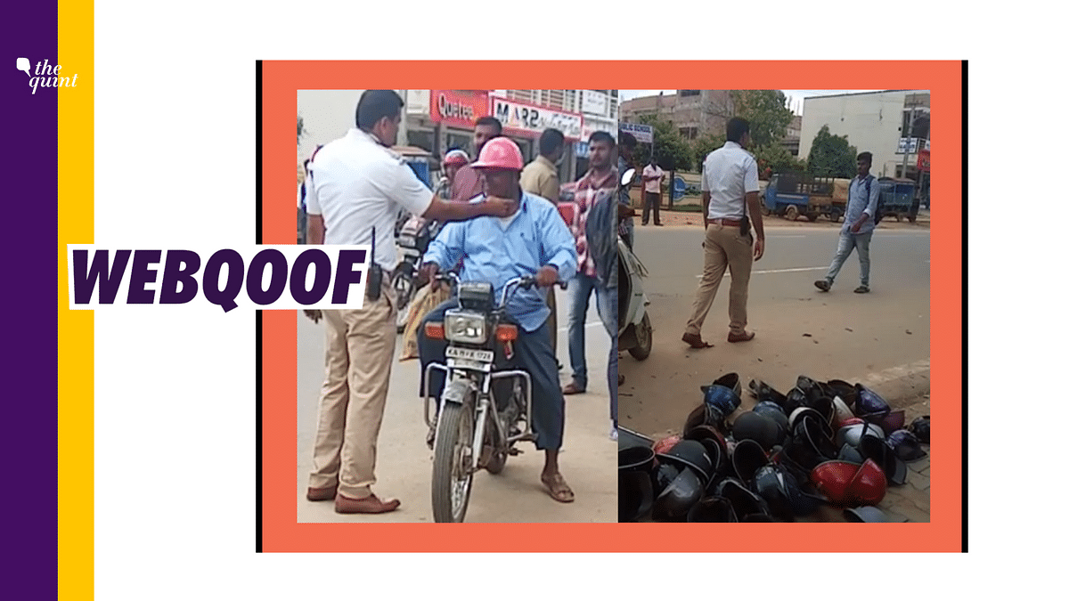 A viral video on social media falsely claimed that low quality helmets have been banned in Hyderabad.