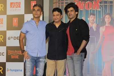 "Mumbai: Director Mudassar Aziz and producers Bhushan Kumar and Juno Chopra at the trailer launch of their upcoming film ""Pati Patni Aur Woh"" in Mumbai on Nov 4, 2019. (Photo: IANS)"