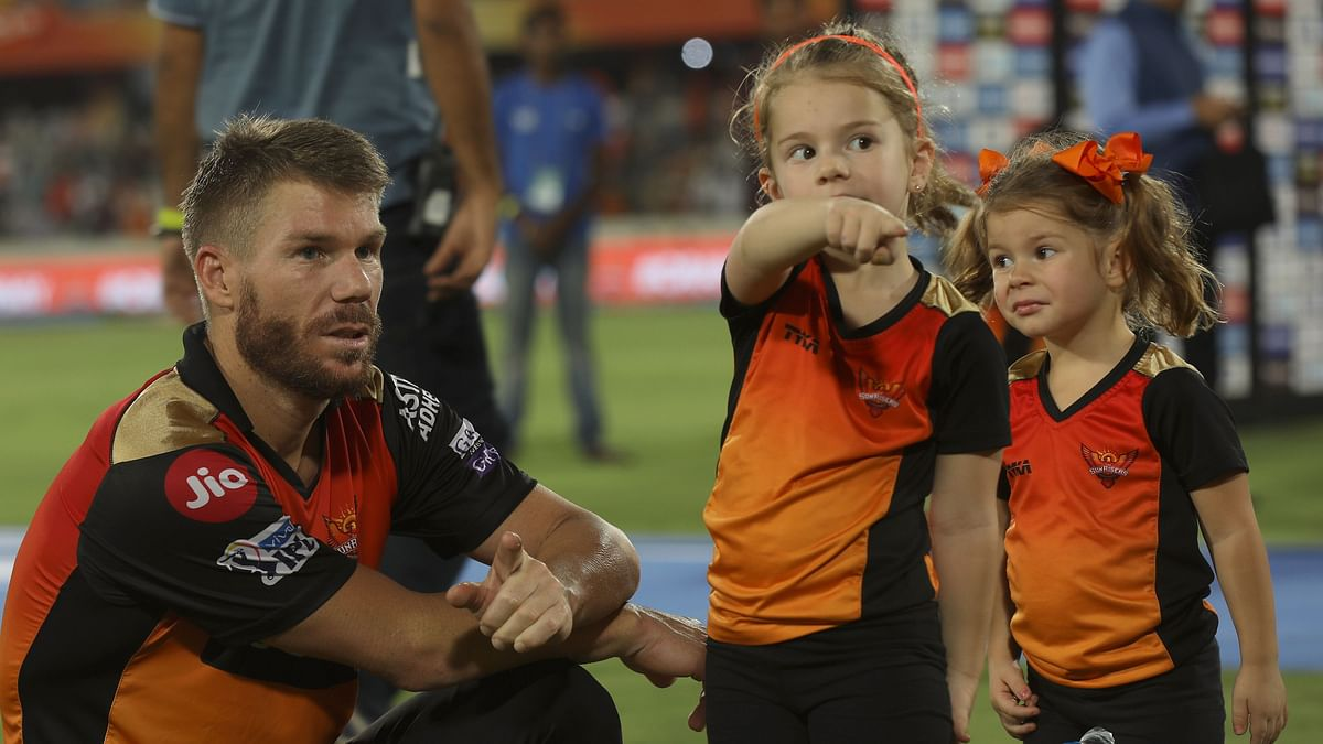David Warner with his daughters after an IPL 2019 fixture in Hyderabad.
